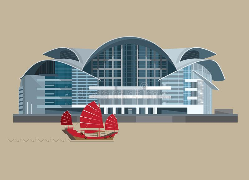 Vector Illustration of The Hong Kong Convention and Exhibition Centre HKCEC phase II. 4 OCT 2018. Vector Illustration of The Hong Kong Convention and Exhibition stock illustration
