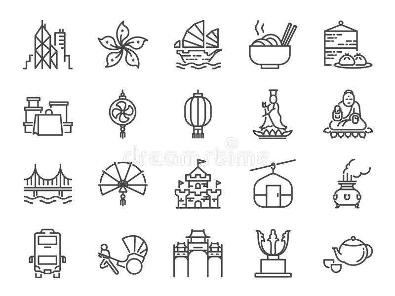 Hong Kong travel icon set. Included the icons as City, barque, Tian Tan Big Buddha , Guan Yin statue, cable car, Dim sum, landmark royalty free illustration