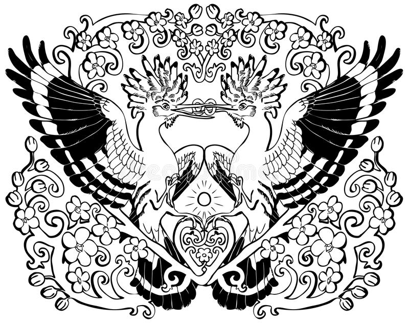 Vector illustration of hoopoe in love floral ornament black and white royalty free illustration