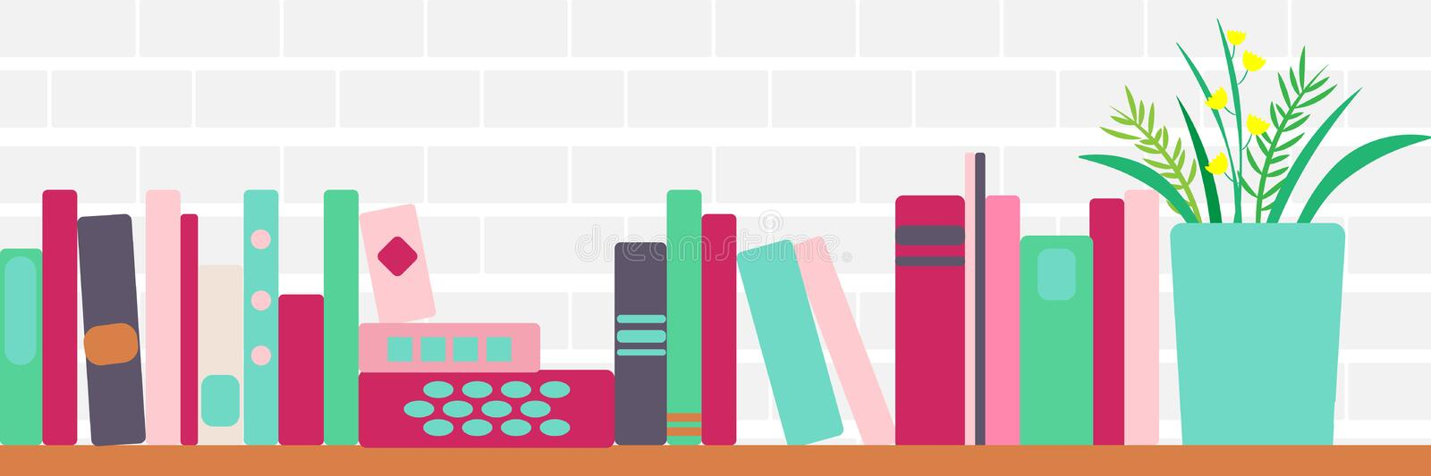 Vector illustration of bookshelves with retro style books and flowers royalty free illustration