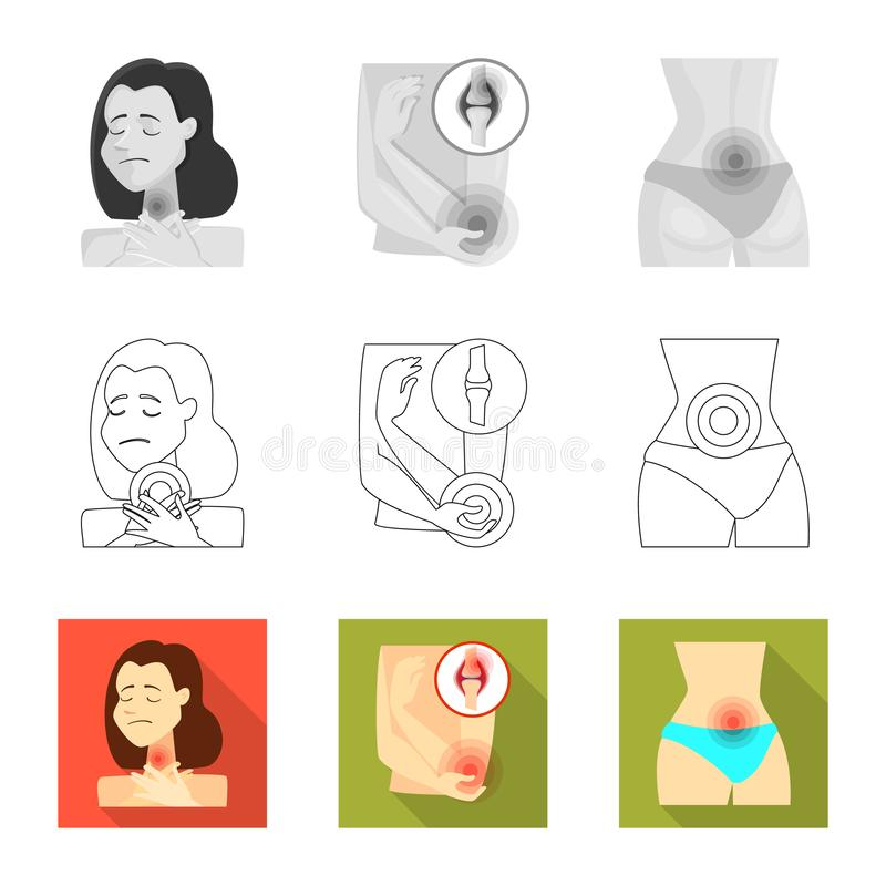 Vector illustration of hospital and rendering symbol. Set of hospital and help stock symbol for web. Isolated object of hospital and rendering sign. Collection vector illustration