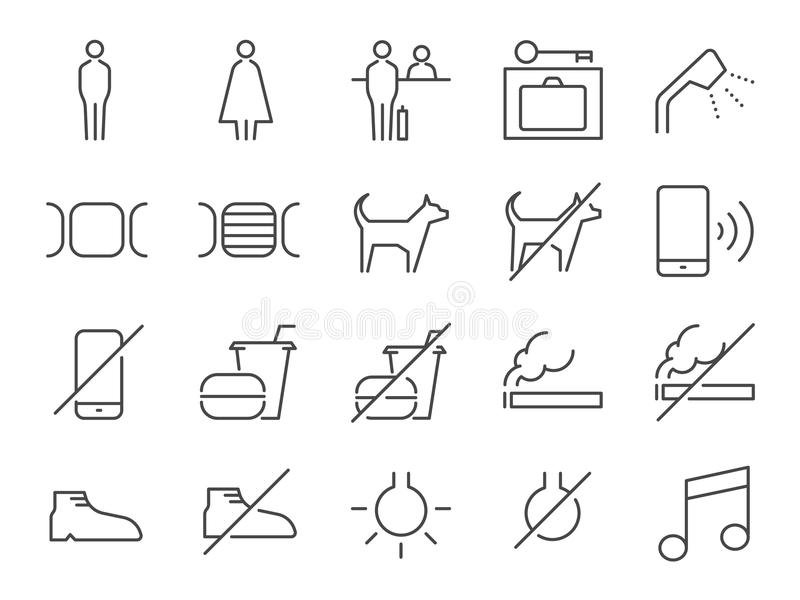 Hostel facilities icon set 1. Included the icons as bathroom, reception, pet friendly, locker, non smoking room, hotel, services a vector illustration