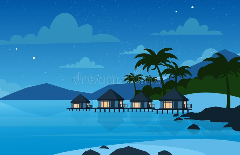 Vector illustration of hotel on the tropical beach in night time. Villa on beautiful sea shore. Vacation concept in flat royalty free illustration