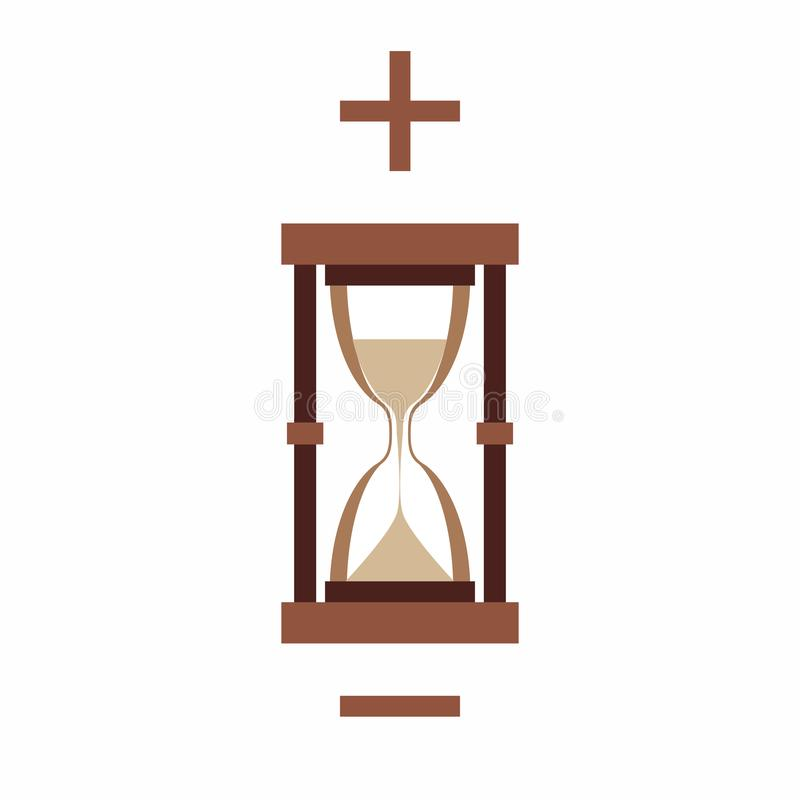 Hourglass, plus and minus on white background royalty free illustration