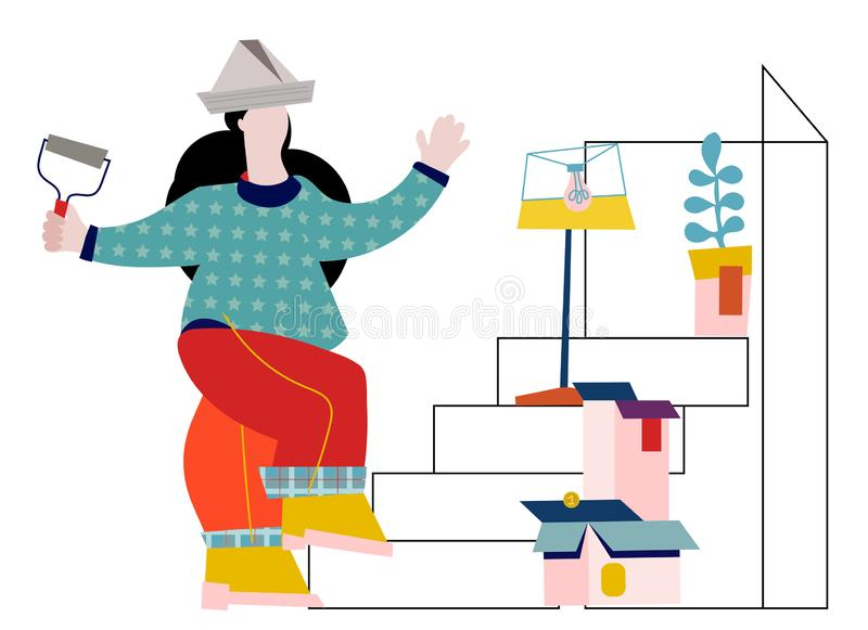 Vector illustration of house building and renovation concept with young woman standing on step ladder . stock illustration