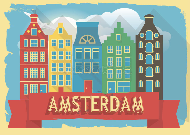 Vector illustration houses of amsterdam. On retro style poster or postcard royalty free illustration