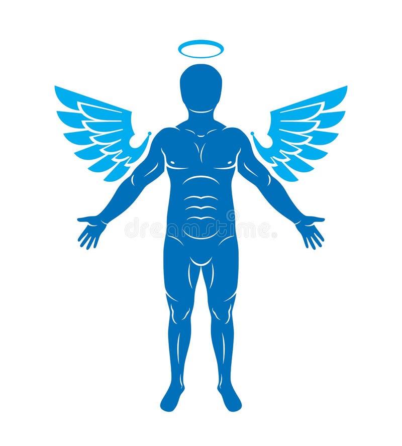 Vector illustration of human, athlete made using angel wings and. Nimbus. Holy Spirit, cherub metaphor stock illustration
