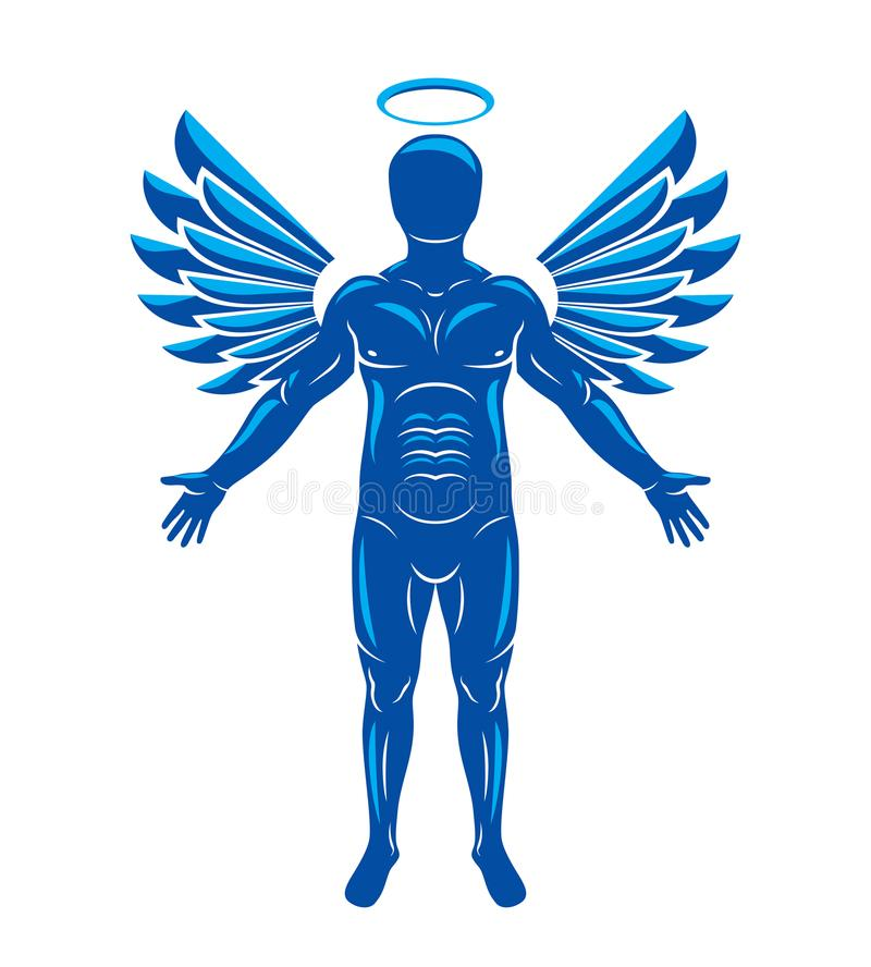 Vector illustration of human, athlete made using angel wings and. Nimbus. Holy Spirit, cherub metaphor royalty free illustration