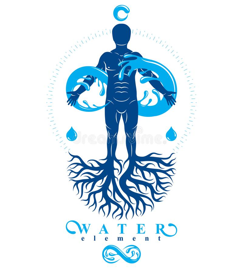 Vector illustration of human being, strong athlete with tree roots and limitless symbol composed from water splash. Human water c royalty free illustration