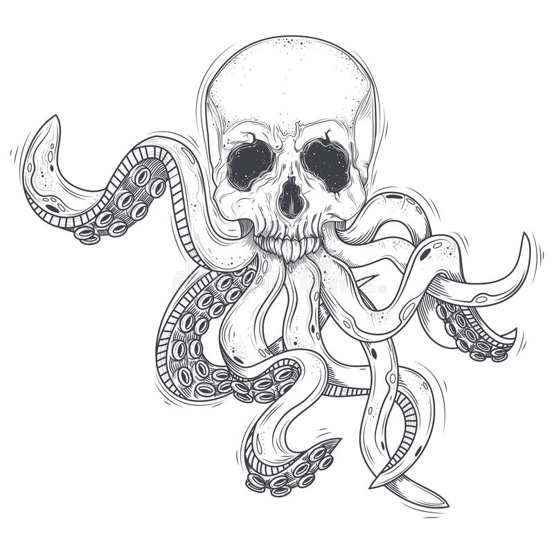 Vector illustration of a human skull with tentacles stock illustration