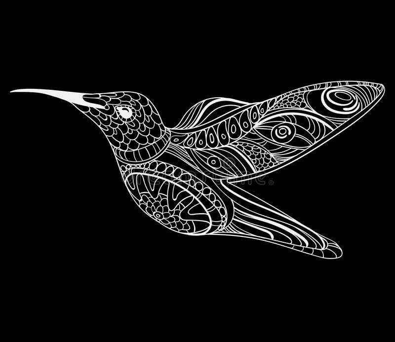 Vector illustration of a hummingbird. Stylized flying bird. Drawing with ornaments. Linear Art. Black and white drawing royalty free illustration