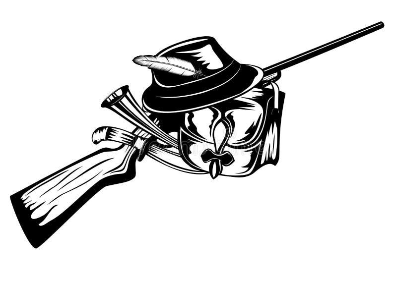 Huntings set vector illustration