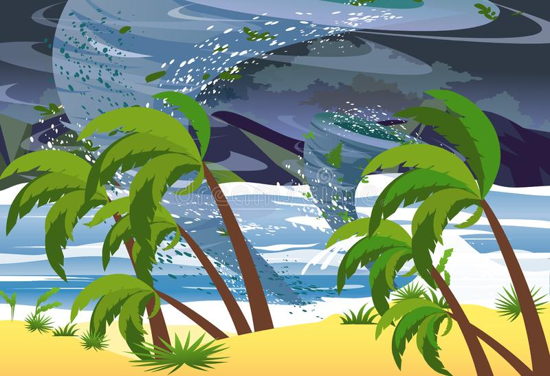 Vector Illustration of hurricane in ocean. Huge waves on the beach. Tropical natural disaster Concept in flat style. stock illustration