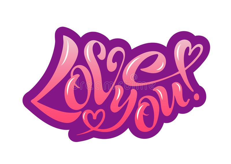 Vector illustration of I love you. I love you, handwritten text for postcards, posters, valentines, logos or prints in vector format. The inscription, the color vector illustration