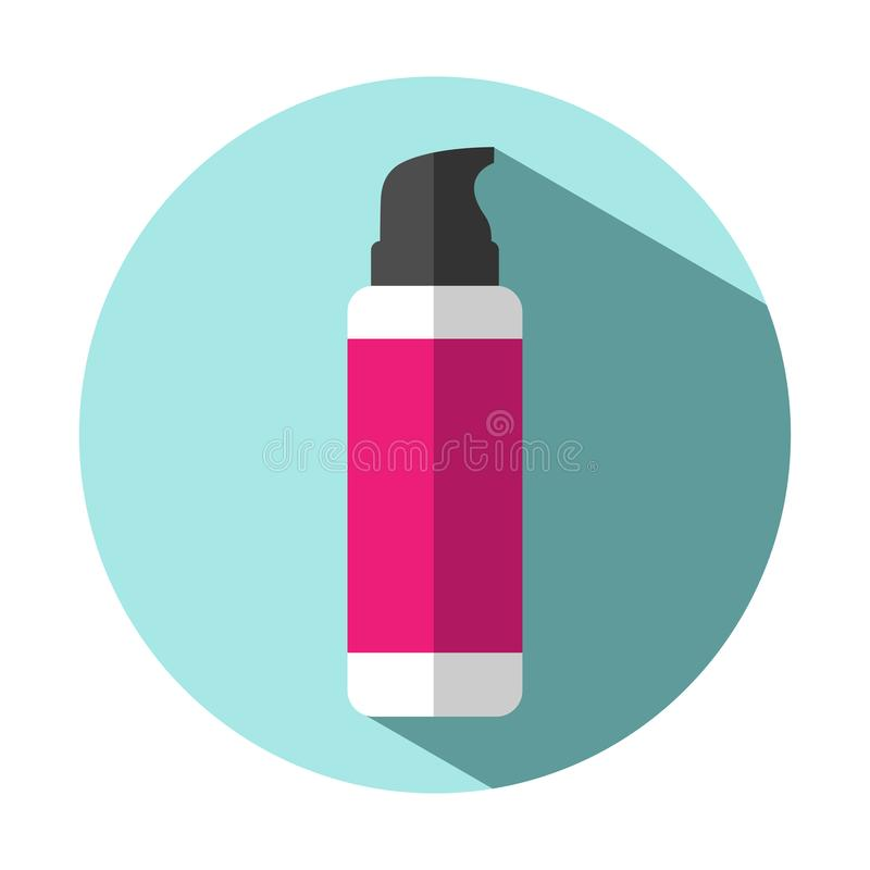 Vector illustration icon bottle with pomp for makeup, shaving cream or gel stock illustration