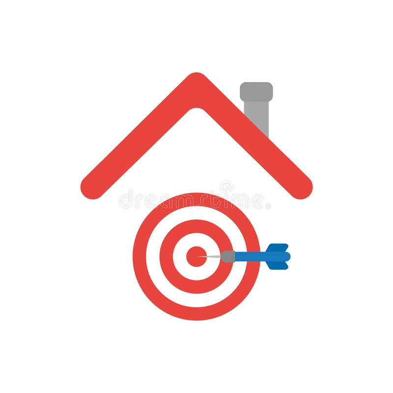 Vector illustration icon concept of bulls eye with dart in the c. Enter under house roof royalty free illustration