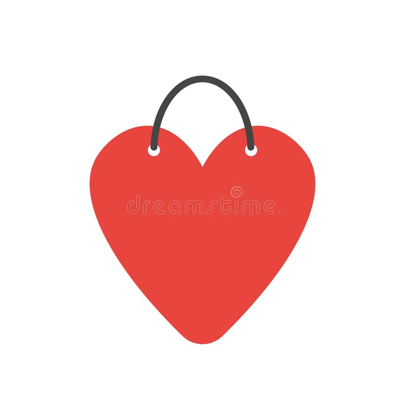 Vector icon concept of heart-shaped shopping bag royalty free illustration