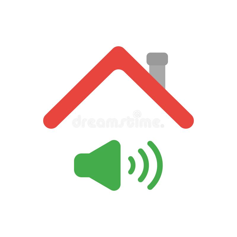 Vector icon concept of sound on symbol under house roof. Vector illustration icon concept of sound on symbol under house roof royalty free illustration