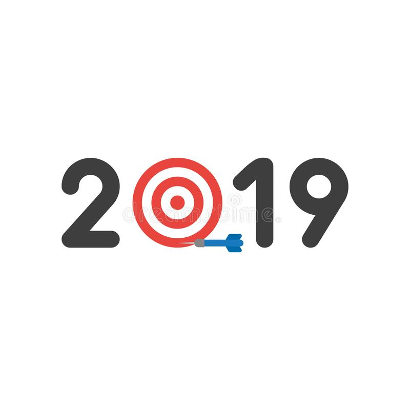 Vector icon concept of year of 2019 with bulls eye and dart miss stock illustration