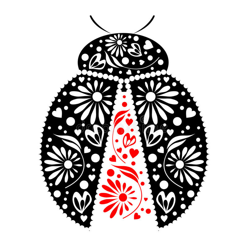 Vector illustration. Icon of decorative ornamental black ladybug, over white background vector illustration