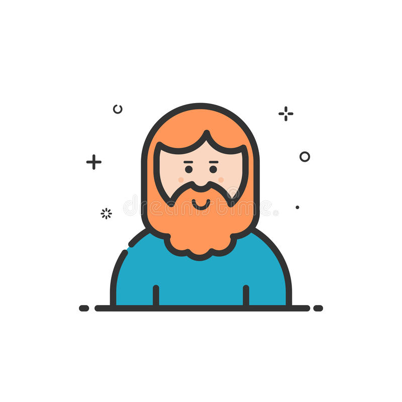 Vector illustration of icon in flat line style. Linear cute and smiling hipser man with beard. Graphic design concept of avatar use in Web Project and royalty free illustration