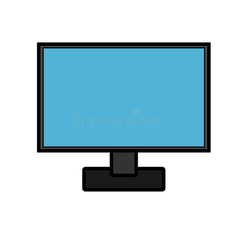 Vector illustration icon of a modern digital digital smart rectangular computer with monitor, laptop isolated on white background. stock illustration