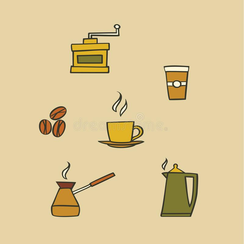 Vector illustration icon set of coffee: mug, coffee maker, coffee grinder, beans, kettle, coffee to go. Outline illustration icon set of coffee: mug, coffee vector illustration