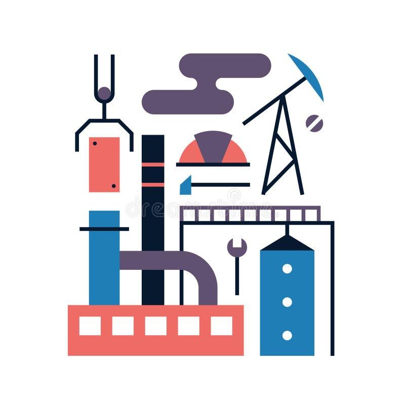 Vector illustration icon set of factory stock illustration