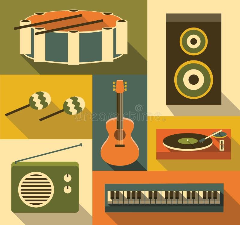 Vector illustration icon set of music stock illustration
