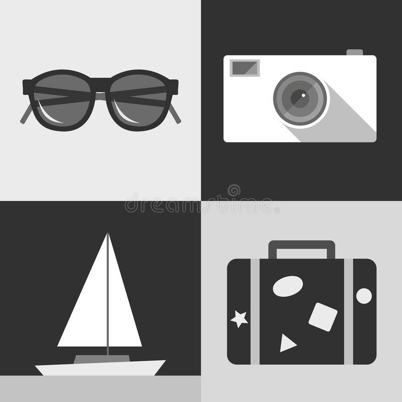 Vector illustration icon set of travel: sunglasses, photo camera, ship, suitcase stock illustration