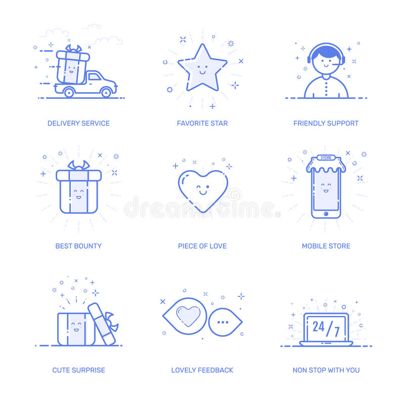 Vector illustration of icon shopping concept likes in line style. Linear blue phone with geometric symbols. icon set stock illustration