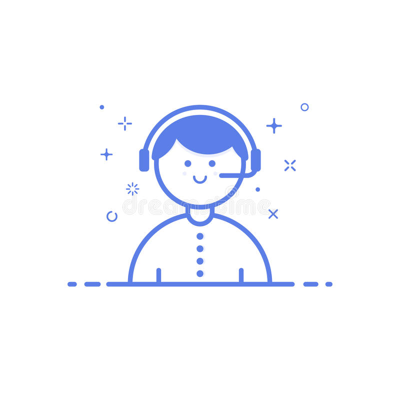 Vector illustration of icon shopping concept support in line style. Linear blue phone with geometric symbols. royalty free illustration