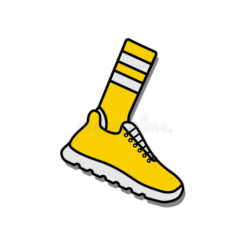 Vector illustration icon of socks and sport running shoes sneakers stock illustration
