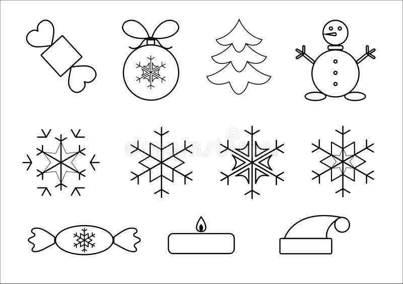 Vector illustration, icons christmas stock illustration