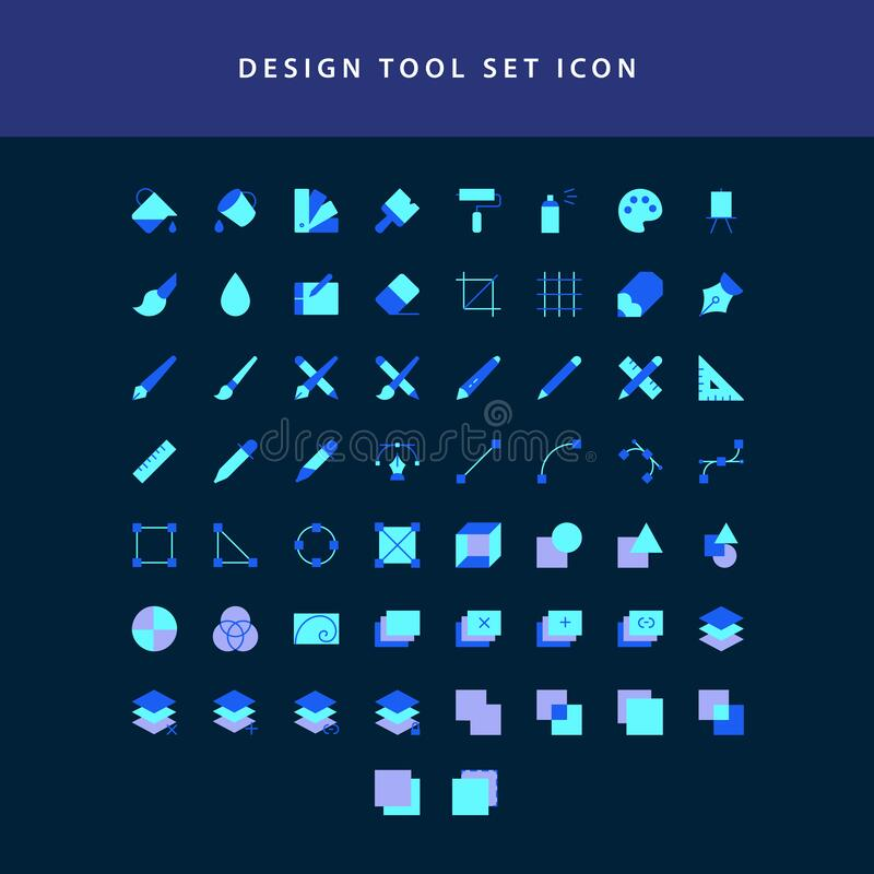 Vector illustration icons set of graphic designer items and tools flat style design icon set vector illustration