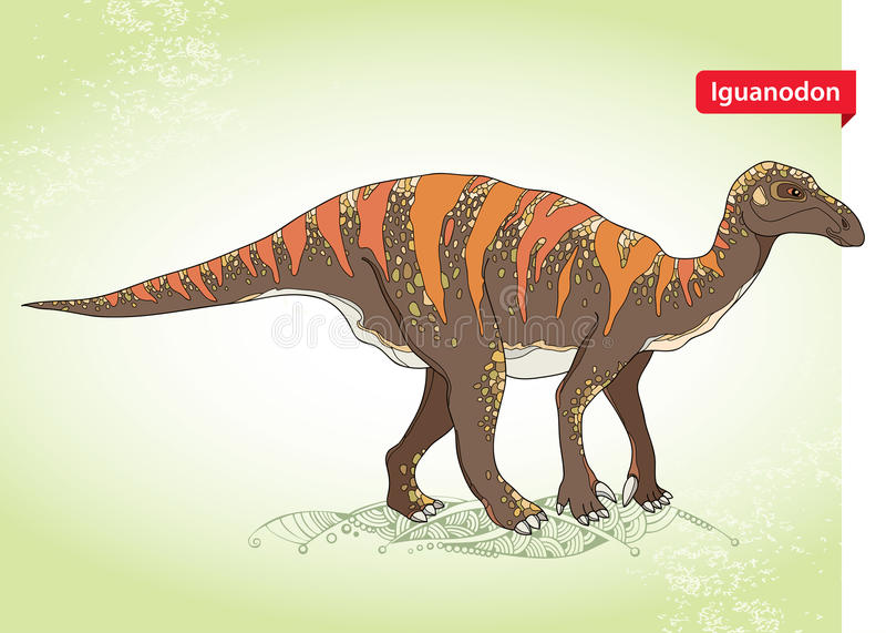 Vector illustration of Iguanodon from genus of ornithopod dinosaur on the green background. stock illustration