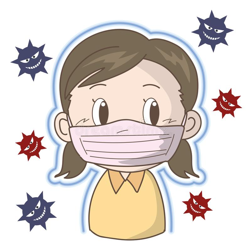 Prevention of flu and cold - Girl. Vector illustration image of medical health. To poster, card and ad royalty free illustration