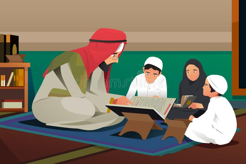 Imam Reading Quran With His Students Illustration royalty free illustration