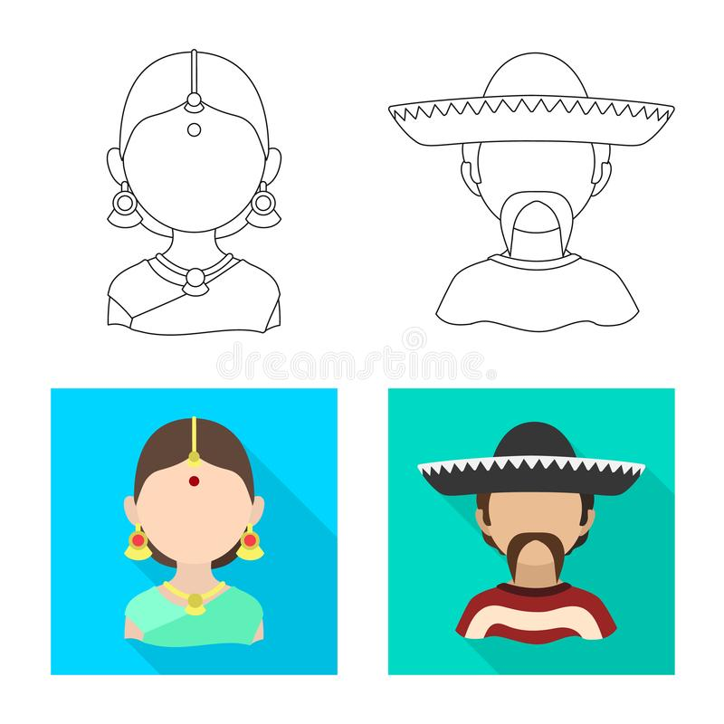 Vector design of imitator and resident icon. Collection of imitator and culture stock symbol for web. Vector illustration of imitator and resident symbol. Set vector illustration