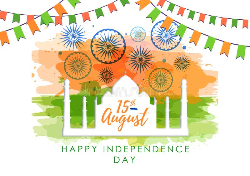 Vector illustration of India Independence day with holiday firework on watercolor background. Vector illustration of India Independence day with holiday firework royalty free illustration