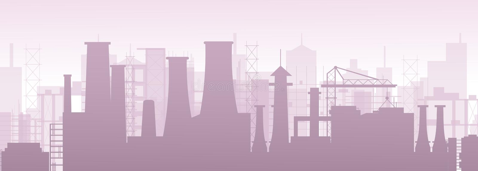 Vector illustration of industrial chemical petrochemical oil and gas refinery plant. Factory pollution landscape. royalty free illustration