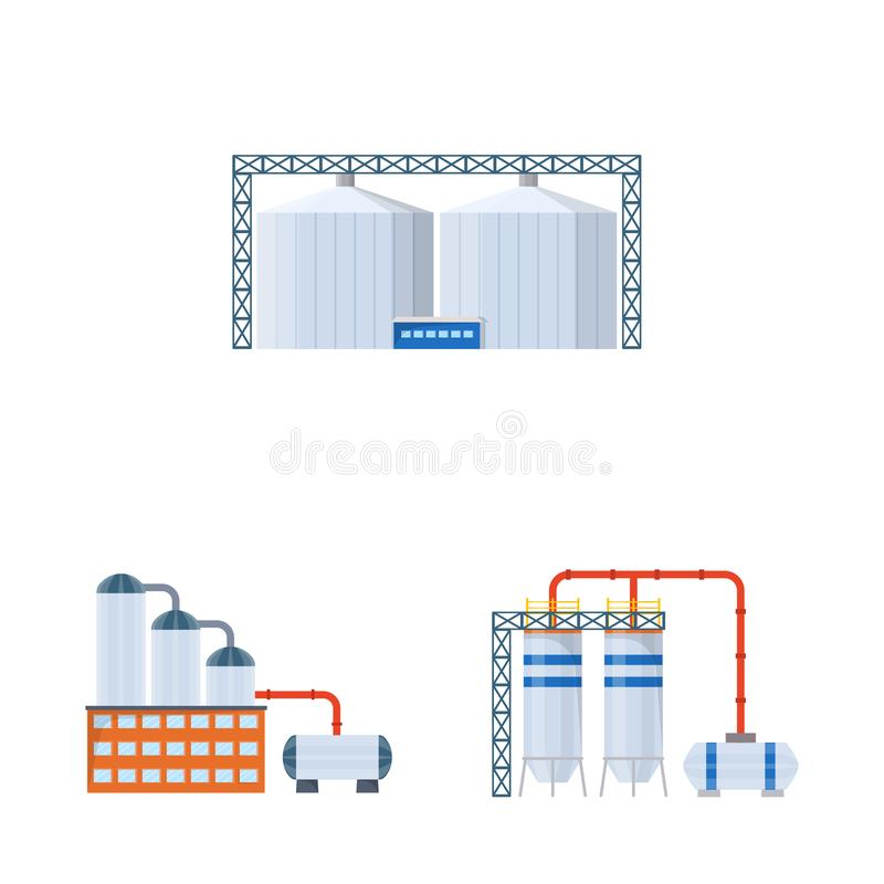 Vector illustration of industry and building icon. Collection of industry and construction stock vector illustration. Isolated object of industry and building vector illustration