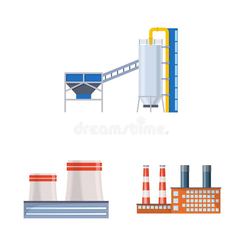 Vector illustration of industry and building icon. Set of industry and construction vector icon for stock. royalty free illustration