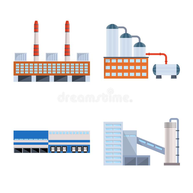 Vector illustration of industry and building logo. Collection of industry and construction vector icon for stock. Isolated object of industry and building icon royalty free illustration