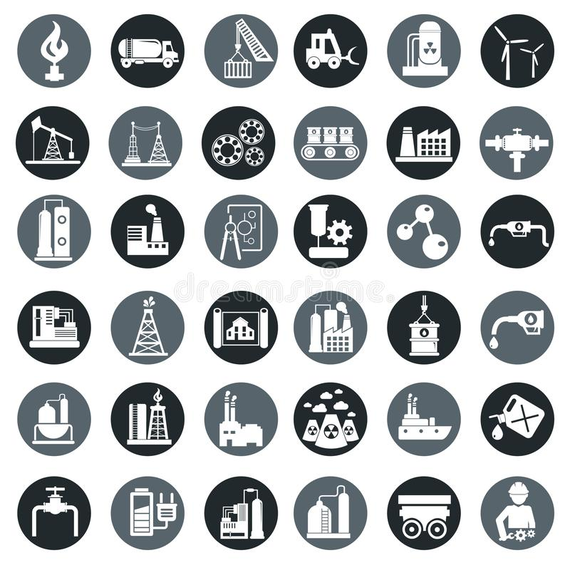 Vector industry factory icons set stock illustration