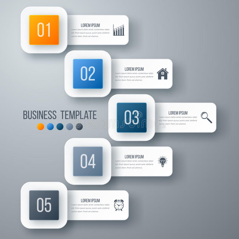 Vector illustration infographic five options. Stock vector stock illustration