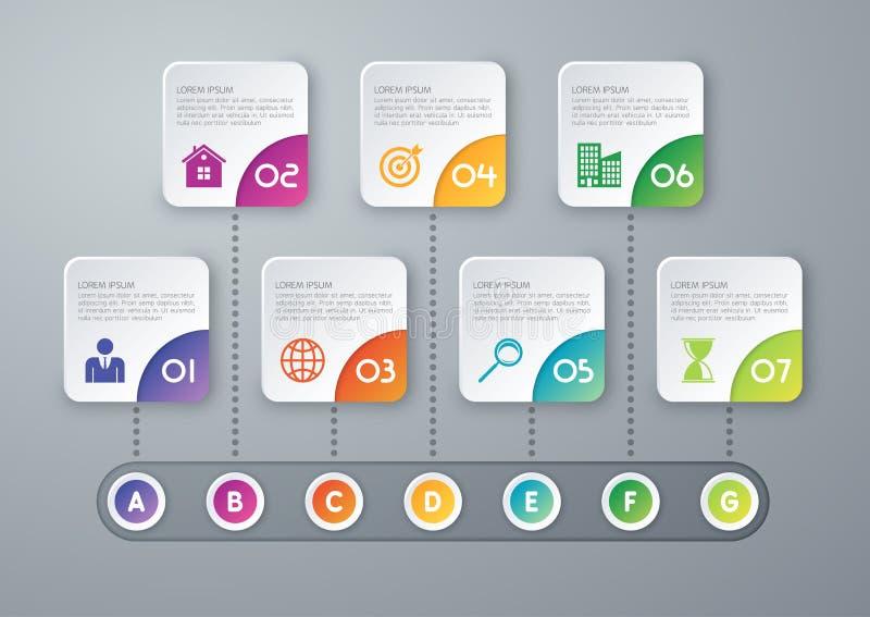 Vector illustration infographic timeline of seven options vector illustration