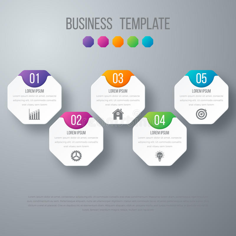 Vector illustration infographics five options. Stock vector royalty free illustration