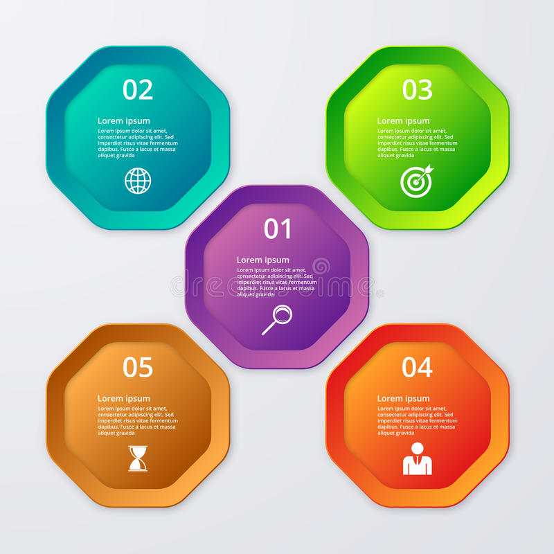 Vector illustration infographics of octagons.  stock illustration