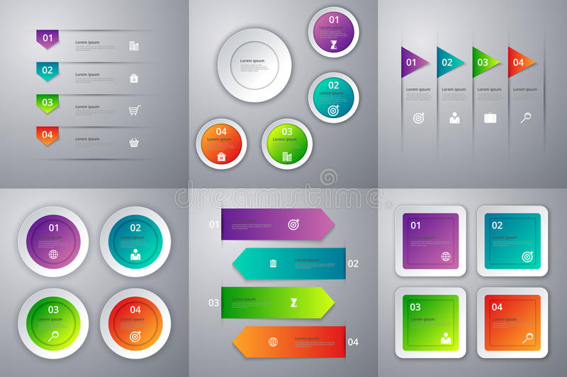 Vector Illustration Infographics . Set Of Six Colorful Templates ...